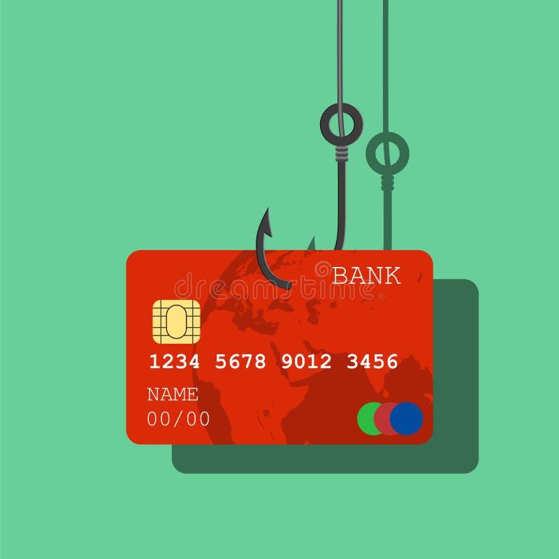 Credito o carta di debito sul gancio di pesca, illustrazione di stock