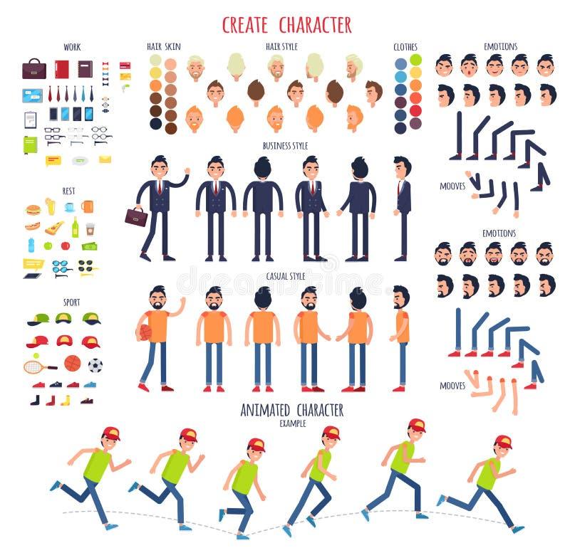 Cree el carácter Sistema de diversas partes del cuerpo stock de ilustración