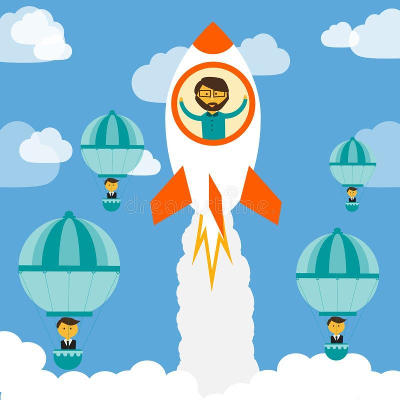 Cree el negocio en la competencia con el otro vector de la compañía libre illustration