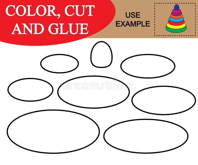 Cree la imagen de la pirámide del bebé worksheet Color, corte y pegamento libre illustration