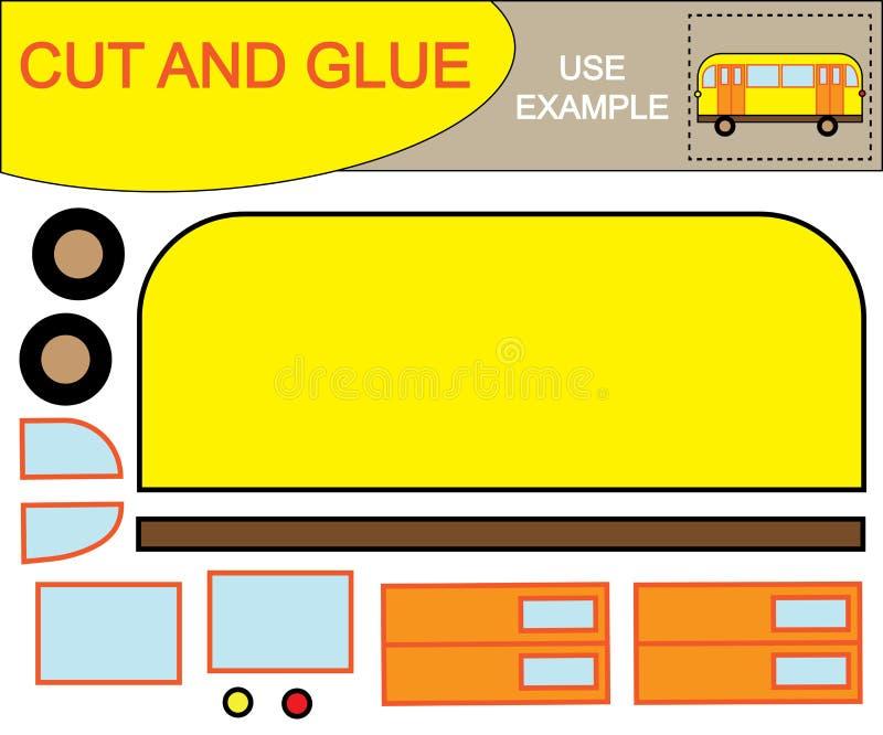 Cree la imagen del autobús usando las tijeras y el pegamento El papel educativo embroma el juego Ilustración del vector stock de ilustración
