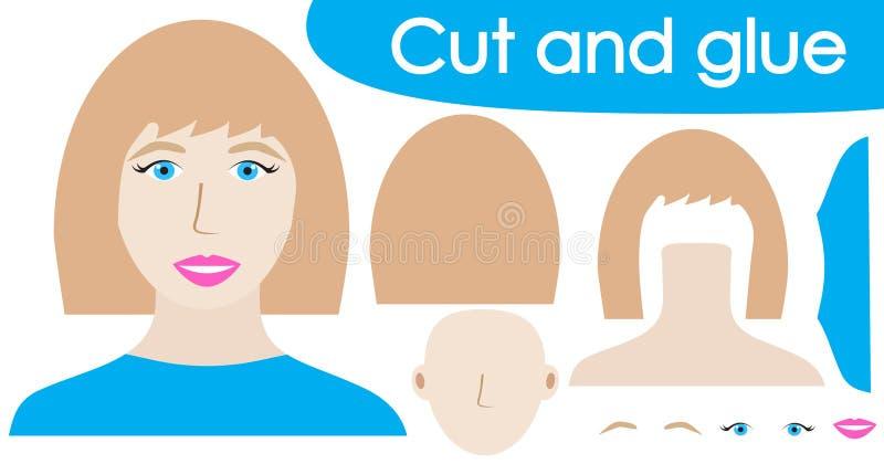 Cree la imagen del retrato de la mujer hermosa usando las tijeras y el pegamento Juego de Kid's Ilustración del vector stock de ilustración