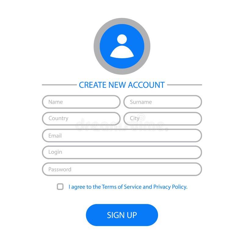 Cree la nueva cuenta - diseño de la forma del web Interfaz de usuario del sitio web para la página del registro Plantilla para UI stock de ilustración