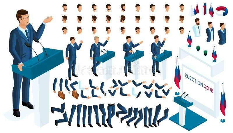 Cree su carácter isométrico 3d hombre, candidato presidencial a la elección requerida, votando stock de ilustración