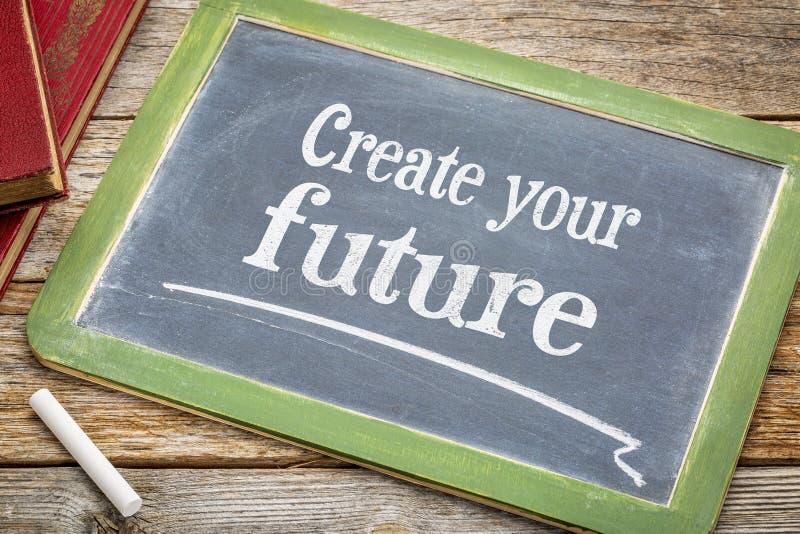Cree su futuro - muestra de motivación de la pizarra imagenes de archivo