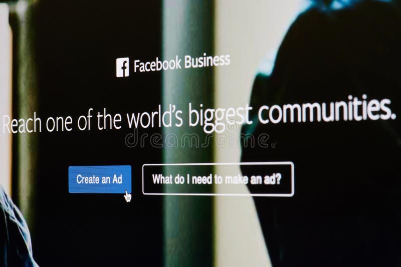 Cree un anuncio en negocio del facebook imágenes de archivo libres de regalías