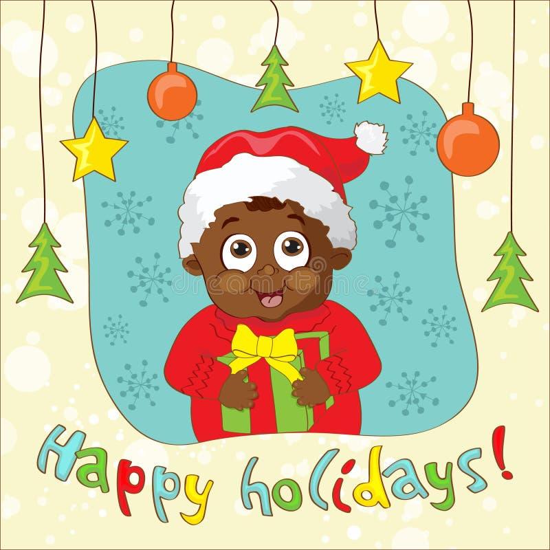 Cree una tarjeta de Navidad del Vintage-estilo con el niño stock de ilustración