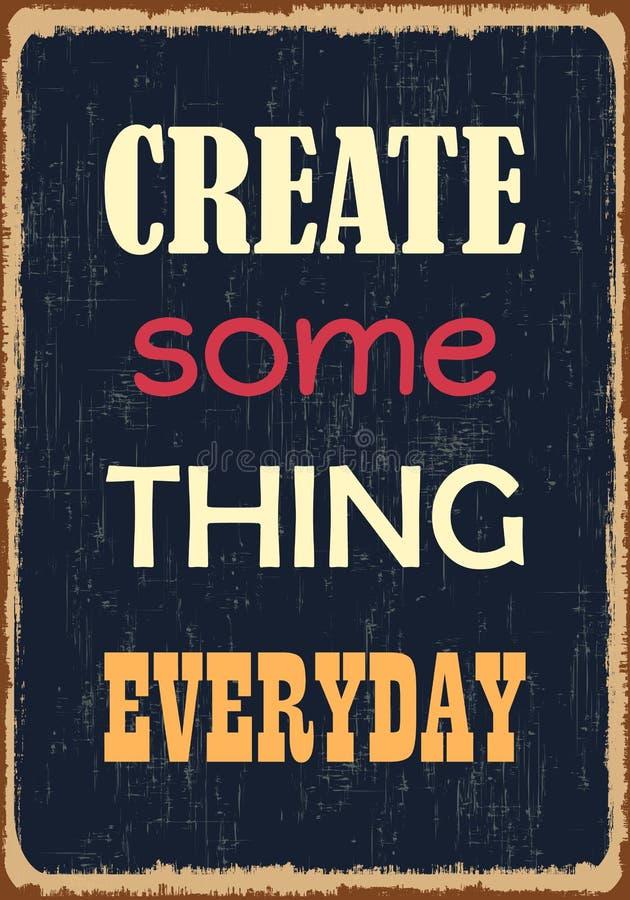 Creeer één of ander dagelijks ding Retro Etiket met Kalligrafische Elementen Vectortypografieaffiche vector illustratie