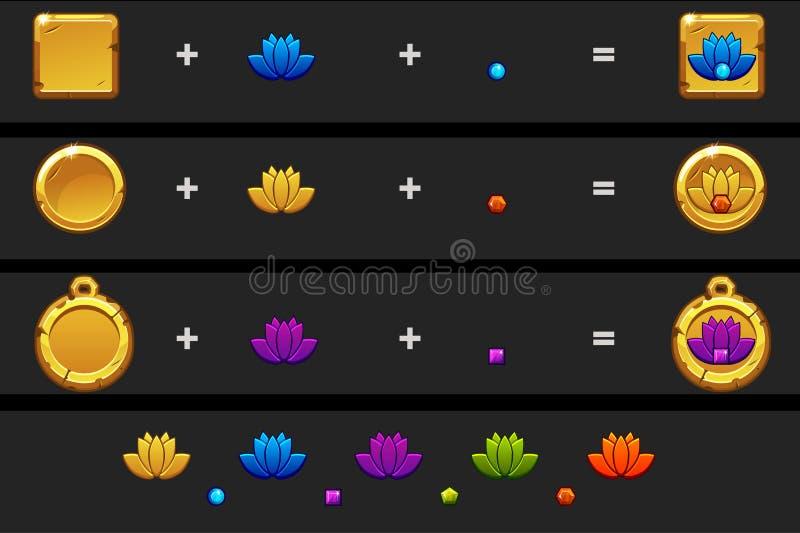 Creeer het beeldverhaalstijl van het lotusbloempictogram Vector verschillende variatie en kleuren royalty-vrije illustratie