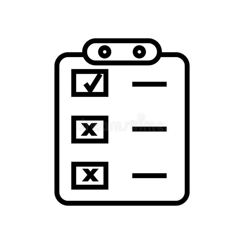 Creeer het pictogram vectordieteken van de lijstknoop en het symbool op witte achtergrond wordt geïsoleerd, leidt het embleem tot royalty-vrije illustratie