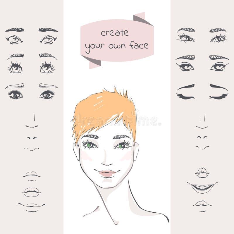 Creeer uw eigen gezicht royalty-vrije illustratie