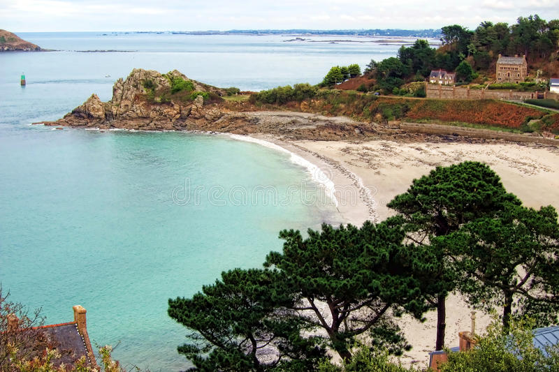 Creek And Beach On The Coast Of Brittany France Stock Photos