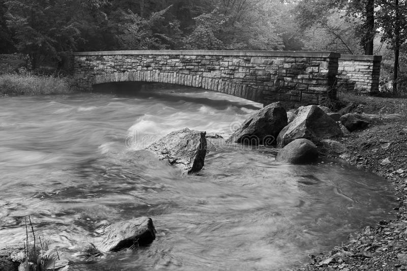 Download Creek And Bridge In Black And White Stock Photo - Image: 18797188