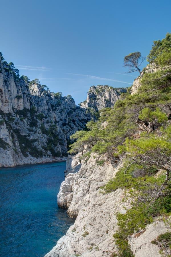 The Creek d'en-Vau près de cassis - Frances du Bouches-du-Rhône image libre de droits