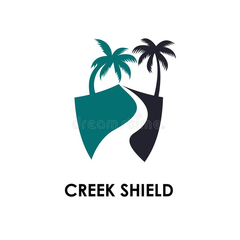 Creek logo template, design vector icon illustration. River, mountain, symbol, shape, nature, abstract, tree, sea, background, paving, natural, water, travel vector illustration