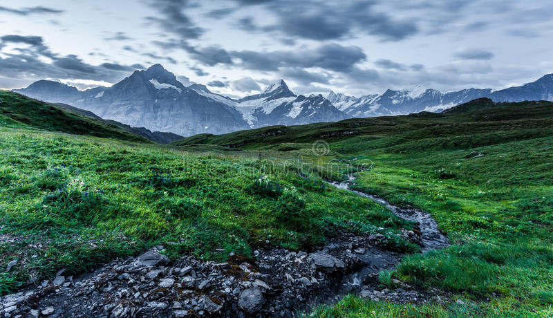 Download Creek and Mountain stock image. Image of eiger, morning - 26686589