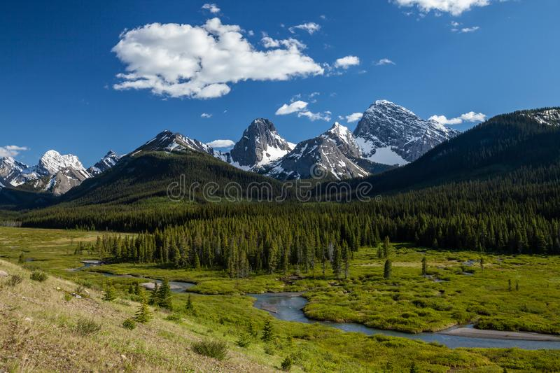 A creek and mountains in Kananaskis Alberta stock images