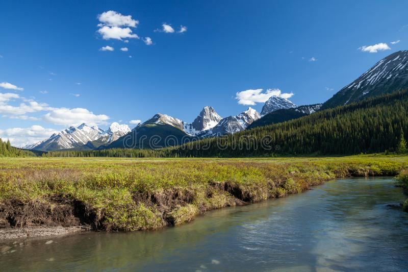 A creek and mountains in Kananaskis Alberta. A creek and mountains in Kanaknskis Alberta, Canada royalty free stock photography