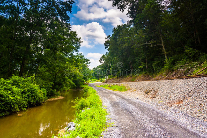 Creek and railroad track along a dirt road in Baltimore County, royalty free stock image