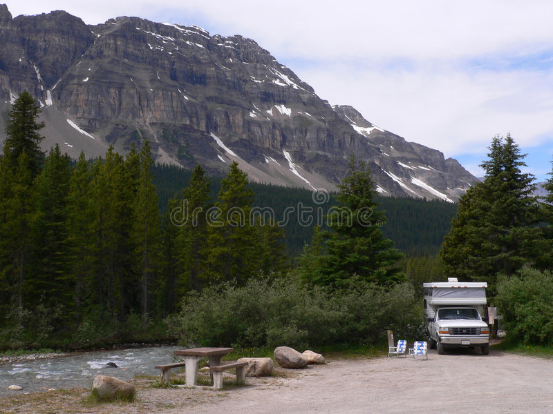 Creekside Campsite stock photography