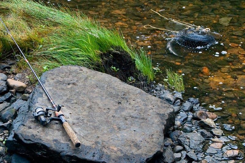 Creekside Rod y carrete foto de archivo libre de regalías