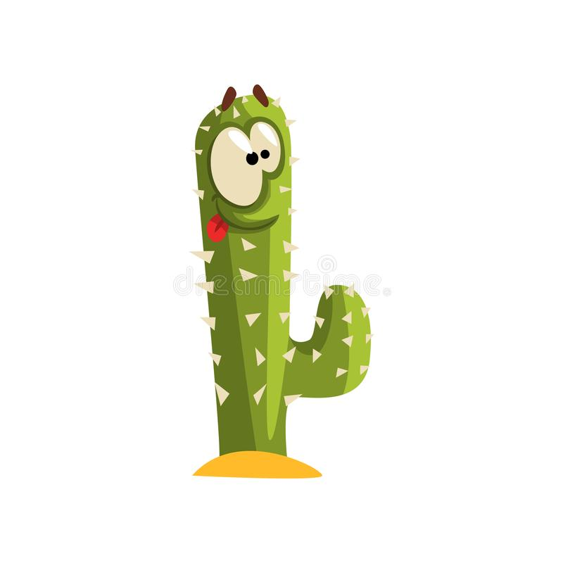 Creen cactus character with big eye, succulent plant with funny face vector Illustration on a white background royalty free illustration