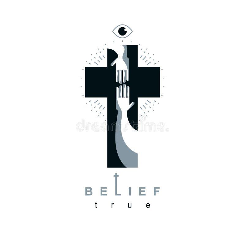 Creencia verdadera cruzada del cristianismo en el símbolo del vector de Jesús, cristiano ilustración del vector