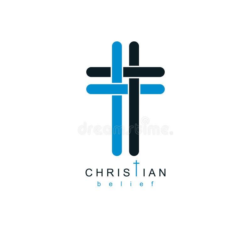 Creencia verdadera cruzada del cristianismo en el símbolo del vector de Jesús, cristiano stock de ilustración