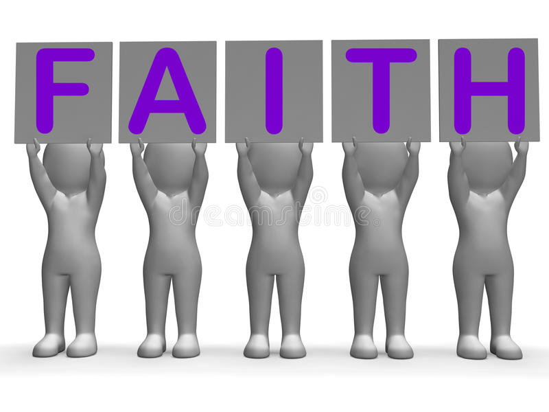 Creencia y religión de las demostraciones de las banderas de la fe ilustración del vector