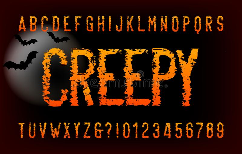 Creepy alphabet font. Messy letters and number. Vector typography for your headers or any typography design stock illustration