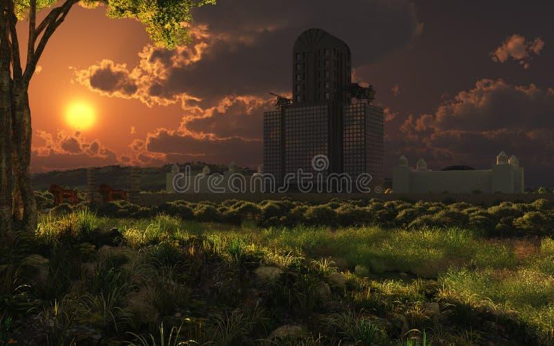 Creepy Asylum Sunset royalty free stock image