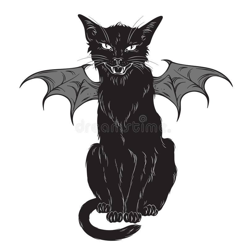 Creepy black cat with monster wings isolated over white background. Wiccan familiar spirit, halloween or pagan witchcraft theme pr royalty free illustration
