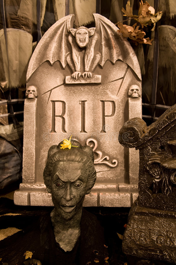 Creepy Cemetery Scene. A creepy cemetery scene with grave markers for halloween stock image