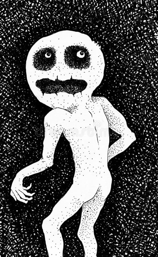 Creepy creature. Black and white illustration of creepy creature stock illustration
