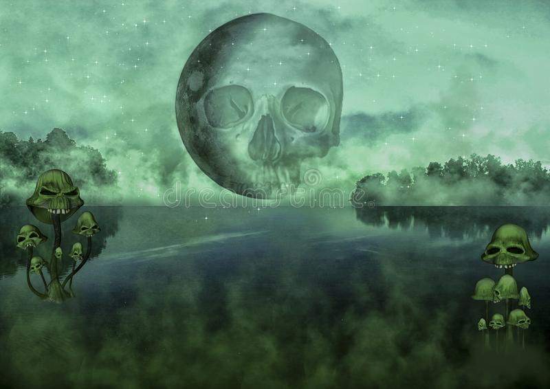 Creepy dark fantasy lake royalty free illustration