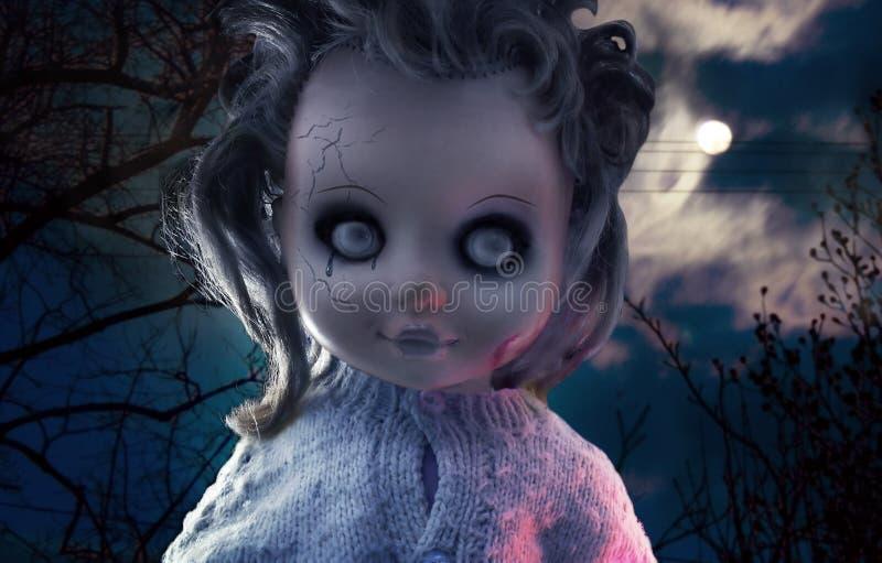 Creepy doll`s face, halloween concept. stock photo