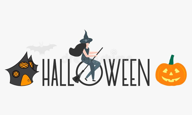 Creepy elements for Halloween 2020. Party card. Halloween vector illustration with inscription Halloween, witch, hat, pumpkin, broomstick, house. Design for stock illustration