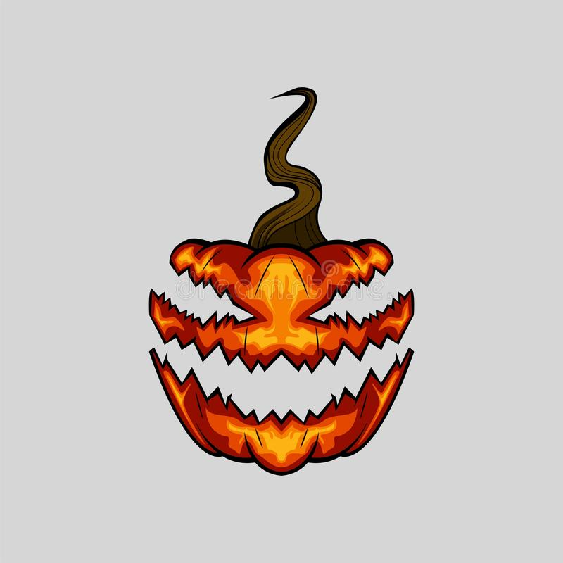 Creepy Face Halloween Pumpkin on White Background stock images