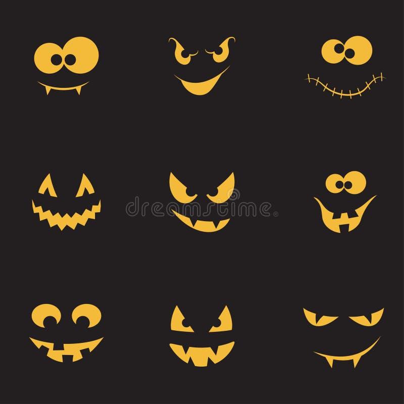 Creepy faces set stock illustration