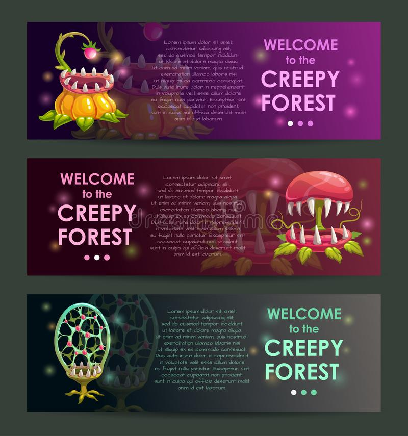 Creepy forest banners concept. Predator plants set. Creepy forest banners concept. Predator plants illustraions set royalty free illustration