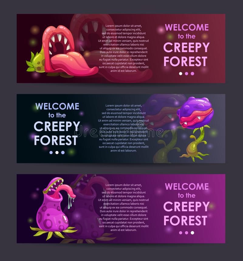 Creepy forest banners concept. Predator plants set. Creepy forest banners concept. Predator plants illustraions set vector illustration
