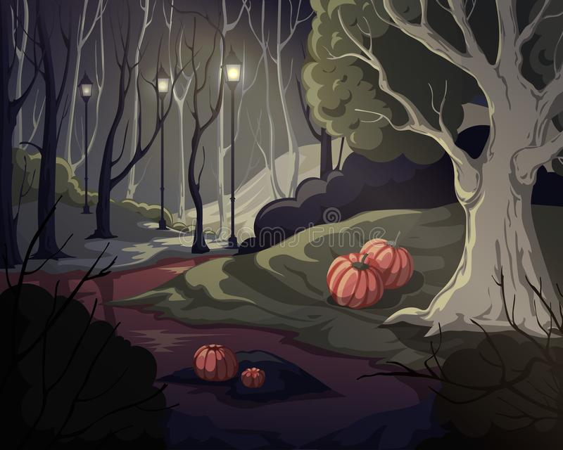Creepy forest landscape with trees, swamp, lanterns and pumpkins. Mysterious scenery background. royalty free stock image