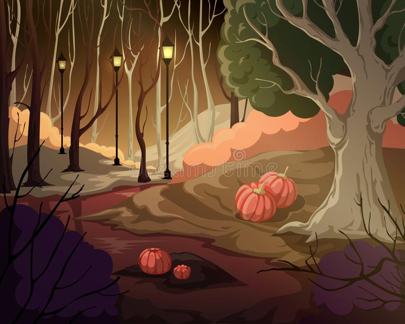 Creepy forest landscape with trees, swamp, lanterns and pumpkins. Mysterious scenery background. royalty free stock photography