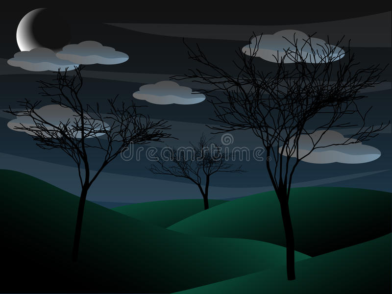 Download Creepy Grim Bare Tree Night Scene Half Moon Stock Vector - Image: 20740074