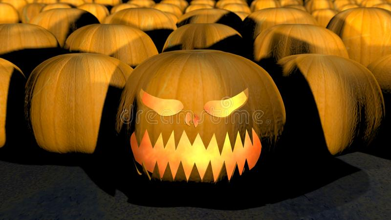 Creepy halloween pumkin with fire in it stock photo