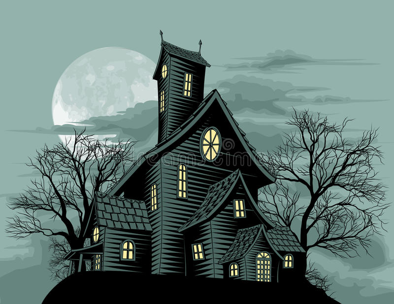 Download Creepy Haunted Ghost House Scene Illustration Stock Vector - Image: 20752641