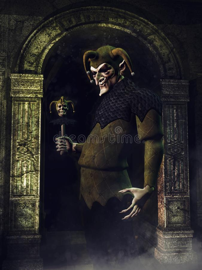 Creepy jester with a skull wand royalty free illustration