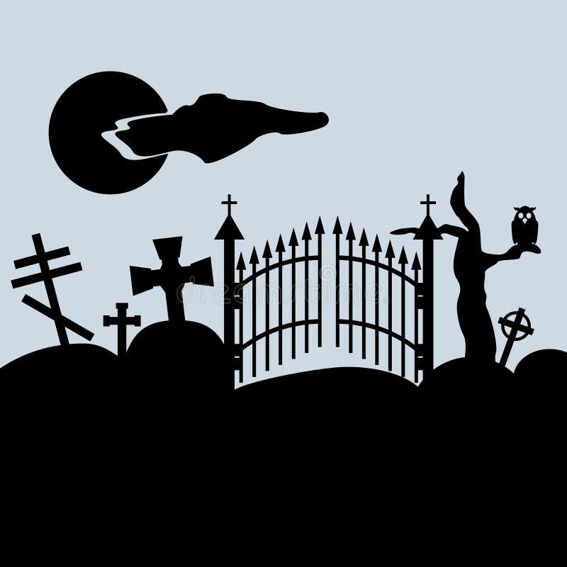 Creepy landscape. Cemetery gates, grave crosses, owl on dry tree, night sky. Vector illustration. stock illustration