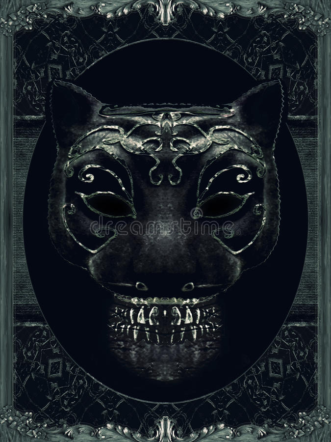 Creepy Mask Portrait with Ornate Borders stock illustration