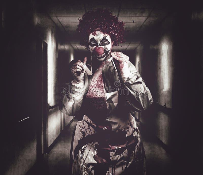 Download Creepy Medical Clown In Grunge Hospital Hallway Stock Image - Image: 36405147